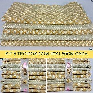 Kit 5 Tecidos Algodão Fabricart N7