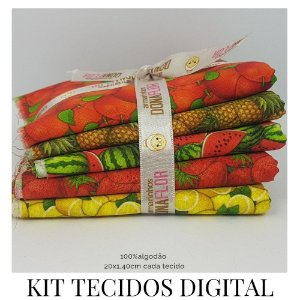 Kit 5 Tecidos Digital  Frutas  20x1,40cm