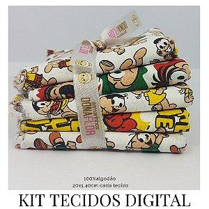 Kit 5 Tecidos Digital Turma da Mônica   20x1,40cm