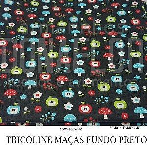 Tricoline Maças Fundo Preto 50X1,40largura