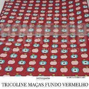 Tricoline Maças Fundo Vermelho 50X1,40 largura