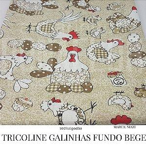 Tricoline Galinhas Fundo Bege  50X1,40 largura