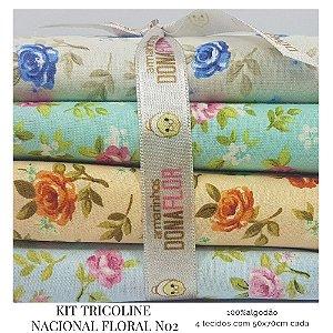 Kit Tricoline Floral N2 | 4 Tecidos 50x70cm