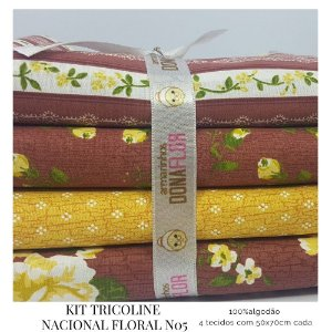 Kit Tricoline Floral N5 | 4 Tecidos 50x70cm