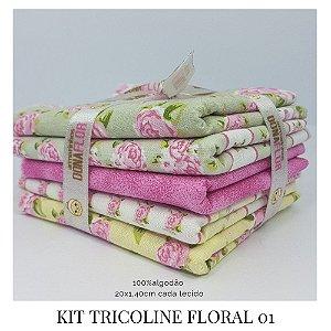 Kit Tricoline Floral  N1| 5 Tecidos 20x1,40cm