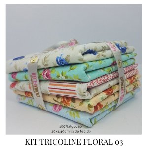 Kit Tricoline Floral N3  | 5 Tecidos 20x140cm