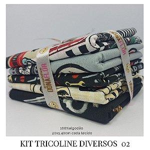 Kit Tricoline Diversos  N2 | 5 Tecidos 20x140cm
