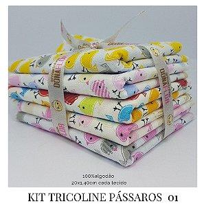 Kit Tricoline Pássaros  N1 | 5 Tecidos 20x140cm