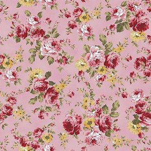 Tricoline grande flor rosa 50X1,40largura