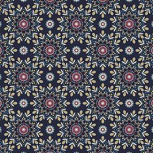 Tricoline Navy Mandala por Carol Viana 50X1,40largura