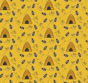 Tricoline Abelhas Bee Buzz Mostarda 50X1,40largura