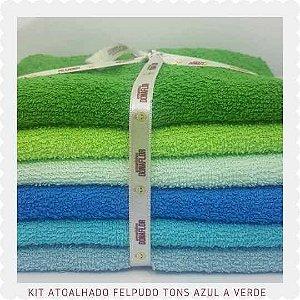 Kit Atoalhado Felpudo tons Azul e Verde 6recortes 50x1,40cm