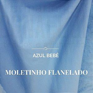 Moletinho Flanelado 50x1,60m de largura - pequenos defeitos Azul Bebê