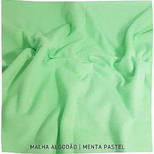 Malha Algodão Penteada Menta Pastel 50cm x 1,80m (tubular)