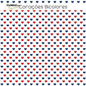 Tricoline Corações Bicolores 50cmX1,40m largura
