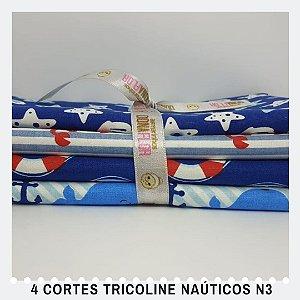 4Cortes Tricoline 100% Algodão Náutica Nº3