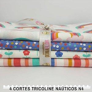 4Cortes Tricoline 100% Algodão Princesas Nº4