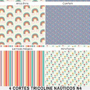 4Cortes Tricoline 100% Algodão Princesas N4 50x1,50m cada tecido
