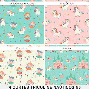 4Cortes Tricoline 100% Algodão Princesas 50x1,50m cada