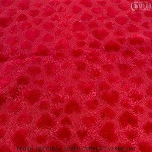 Plush Textura Lover Coração Vermelho tecido Desenhos em Relevo 50cmx1,70m