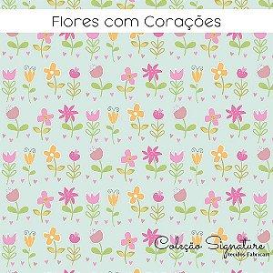 Tricoline Flores om Corações  50cmX1,40m largura
