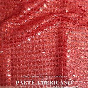 Paetê  Americano Vermelho Fundo Vermelho 50x1,10cm