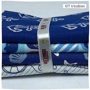 Kit Tricoline Marinheiro  N2 | 4 Tecidos 20x140cm
