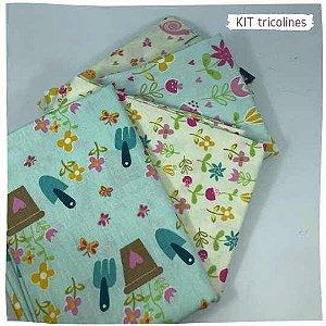 Kit Tricoline Jardins  N1 4tecidos 50x70cm