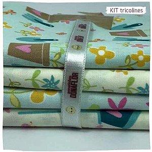 Kit Tricoline Jardins  N1   4 Tecidos 20x140cm