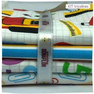 Kit Tricoline Escolar   N1 | 4 Tecidos 20x140cm