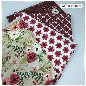 Kit Tricoline Flores diversos 4tecidos 50x70cm