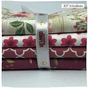 Kit Tricoline flores diversos   N1 | 4 Tecidos 20x140cm