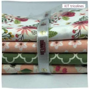 Kit Tricoline flores diversos   N2 | 4 Tecidos 20x140cm