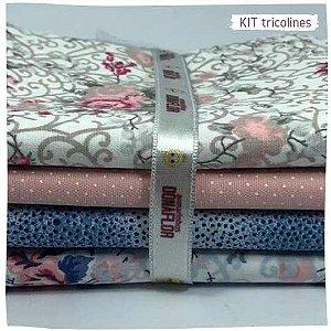 Kit Tricoline flores mistos   N1 | 4 Tecidos 20x140cm