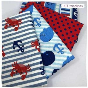 Kit Tricoline marinheiro multicores   N1 | 4 Tecidos 20x140cm