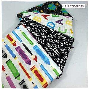 Kit Tricoline Escolar  n 2 | 4 Tecidos 20x140cm