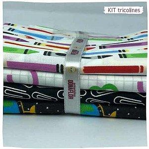 Kit Tricoline Escolar 4tecidos 50x70cm