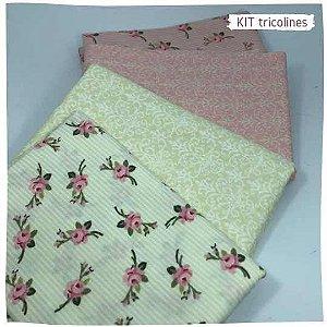 Kit Tricoline flores especiais  n1 | 4 Tecidos 20x140cm