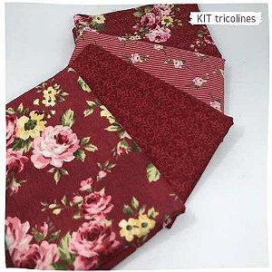 Kit Tricoline Flores especiais n2 | 4 Tecidos 20x140cm