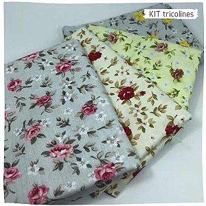 Kit Tricoline Flores especiais n3 | 4 Tecidos 20x140cm
