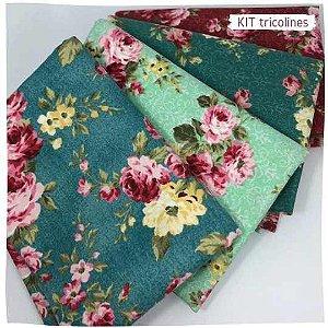 Kit Tricoline Floral 4tecidos 50x70cm