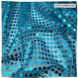 Paetê Americano Azul  Turquesa  50cm x 1,10m