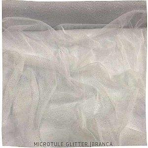 Microtule Com Gliter  Branco  50cm x 1,60m