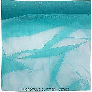 Microtule Com Gliter  Verde  50cm x 1,60m