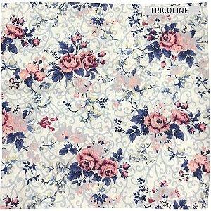 Tricoline Rosa Delicadas  50cmX1,40m