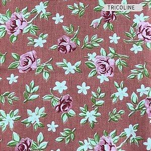 Tricoline Flores rosas   50X1,40 M