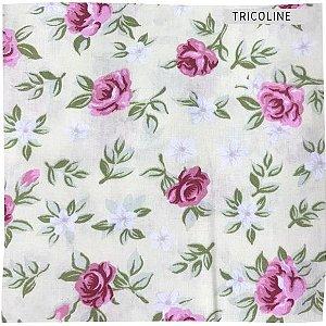 Tricoline Flores Diversos Fundo Branco    50X1,40 M