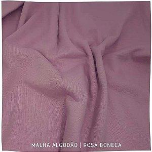 Malha Algodão Penteada Rosa boneca 50x1,80m (tubular)
