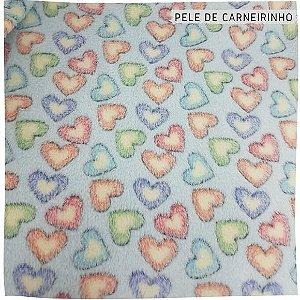 Pele Carneirinho coração fundo azul 50cmx1,60m