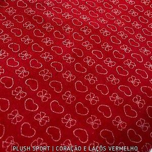 Plush Sport Vermelho Coração e Laços 50cm x 1,70m